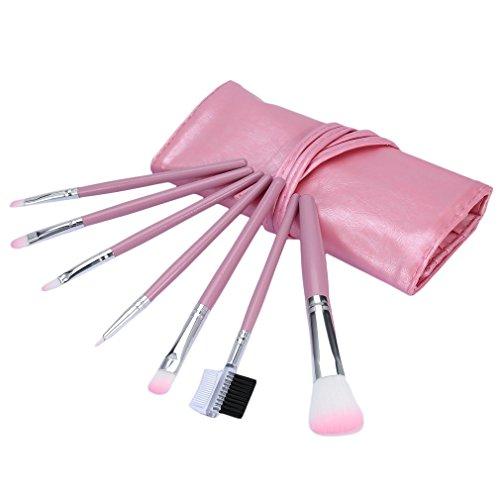 REFAGO 7 pcs Makeup Brushes Set Foundation Eyeshadow Eyeliner Blusher Leather Case