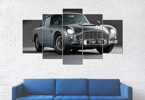 GSDFSD Composición de 5 Cuadros de Madera para Pared - Coche Deportivo - Cuadros Dormitorios Modernos - Listo para Colgar - 100 * 50 cm