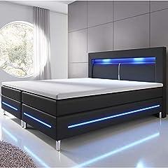 ArtLife Boxspring Lit Norfolk 180 x 200 cm - Lumière LED, tête de lit, matelas & Topper - 66 cm Hauteur de confort - Lit en simili cuir et bois - Noir