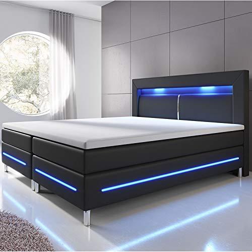 ArtLife Boxspringbett Norfolk 140 x 200 cm – LED Beleuchtung, Bonell-Matratzen, Topper & Kunstleder – 66 cm Komforthöhe – schwarz – Bett Doppelbett