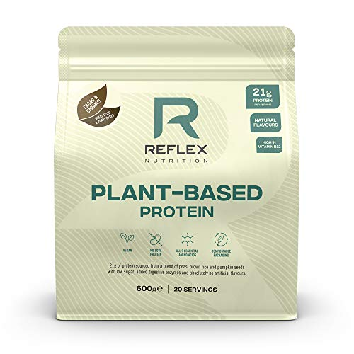 Reflex Nutrition Plant Based Vegan Protein with B12 Great Taste New 2020 Protein (600g) (Cacao & Caramel)