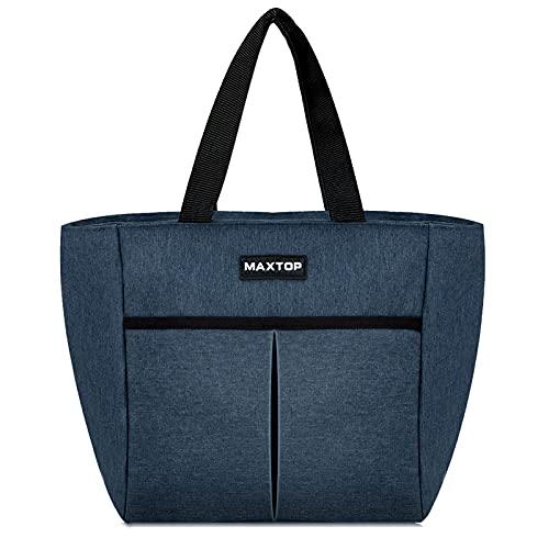 MAXTOP - Bolsa de almuerzo para mujer aislada bolsa termica porta alimentos, con bolsillo frontal para niños, escolares, niñas adultos mujeres, trabajo de oficina, compras, picnic, camping