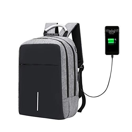 WYJW Reisrugzak voor laptop met USB-oplaadpoort, opening voor hoofdtelefoon, diefstalbeveiliging, voor bedrijven, externe vergrendeling, voor outdoor, school, aanpassing voor computer