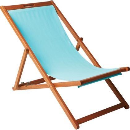 Ligero y Durable plegable de madera Deck Chair–Aqua (madera maciza de eucalipto con certificado FSC,)