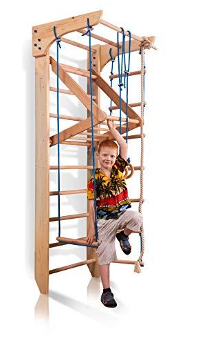 Sportgerät Kletterwand Klettergerüst Fitness Kinder-4-220 Holz Sprossenwand mit Stange Turnwand Kinder Gym - Zertifikat!