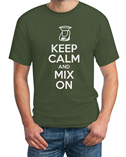 Keep Calm and Mix On - Motiv für Thermomix Liebhaber T-Shirt XX-Large Olivgrün