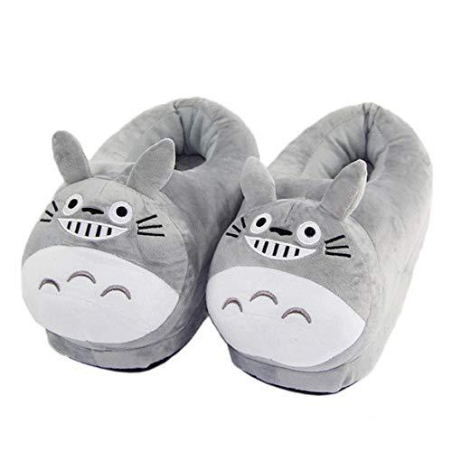 SHOESESTA Zapatillas de Estar por Casa El Viaje de Chihiro Mi Vecino Totoro Pantuflas Felpa Animales Dibujos Animados Mujeres Invierno Muebles Tacón Calidez Ocio Muñecas Zapatos Piso 36-45 (30Cm)
