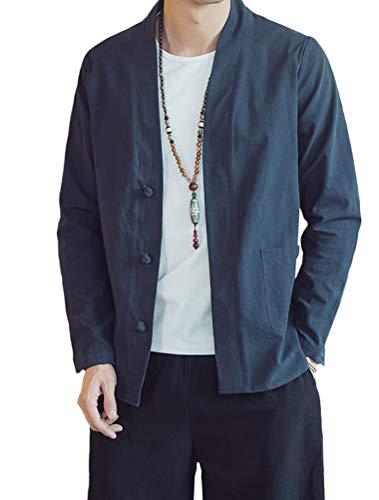 Lavnis Men's Kimono Cardigan Casual Cotton Linen Long Sleeves Open Front Coat Blue XL
