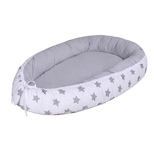 Lulando LULANDO Nido bebé Reductor de Cuna Reversible Capullo Multifuncional Oeko-Tex Standard 100 Clase I, Farbe:Grey Stars/Grey 1 Unidad 1200 g