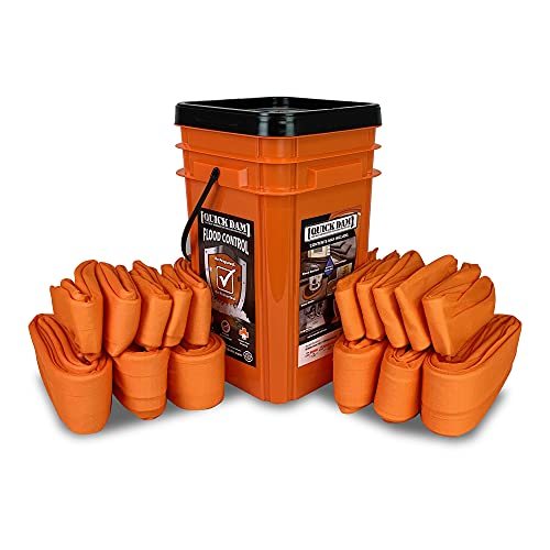 Quick Dam WUGGCO Grab and Go Bucket 10ft & 4ft Water Dams Emergency Flood Protection Kit, Orange, 16 Piece