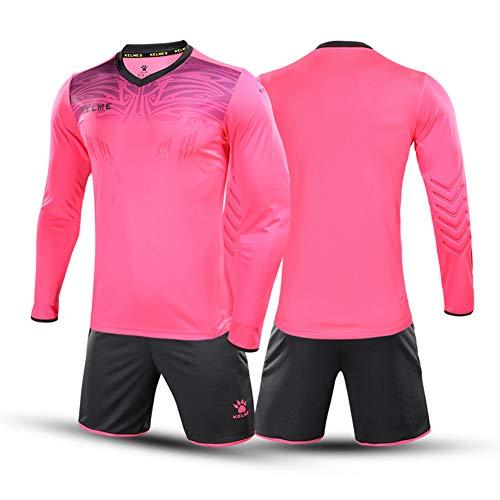 KELME Women Padded Goalkeeper Jersey and Shorts, Girl Soccer Goalie Shirt Long Sleeve, Youth Keeper Uniform Kit Pink M
