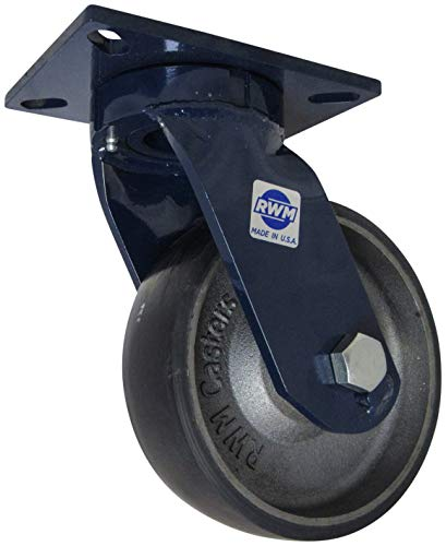 Rigid 2-5//8 Plate Width Ball Bearing 1-1//4 Wheel Width Polyolefin Wheel 3-3//4 Plate Length 5-1//4 Mount Height 300 lbs Capacity 4 Wheel Dia RWM Casters VersaTrac 27 Series Plate Caster