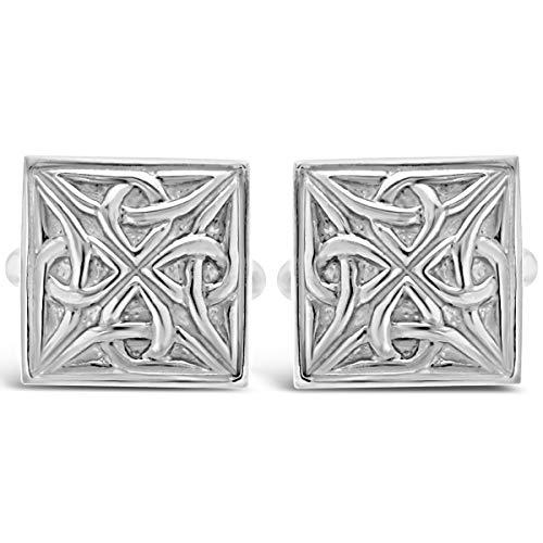 Manschettenknöpfe Sterling-Silber 925 keltisches Design mit Geschenkbox Tolles Geschenk für einen Mann zum Geburtstag oder zu Weihnachten