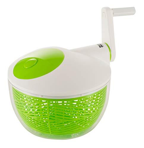 KUHN RIKON 2023 Küchenhelfer Zubehör Accessoires Salatschleuder 21 cm, weiss/grün - mit Stopptaste auf dem Deckel