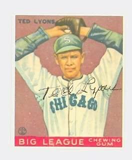 Ted Lyons AUTOGRAPH d.86 HOF 1933 Goudey Dover Reprint Chicago White Sox Trim
