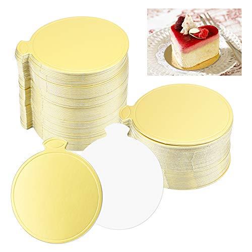 BUZIFU 100 STÜCKE Mousse Kuchen Bretter Gold Papier Cupcake Dessert Zeigt Tray Kuchenplatte Runde Einweg Kuchen Board Kuchenunterlagen Kuchen Dessert Display Tray Cake Boards Rund Set, 8cm