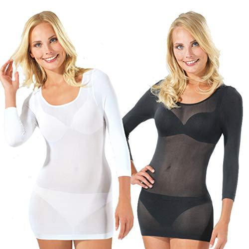 Figur Body Damen Langarmshirt 2 er Pack Figur Body® Thermoshirt 2er-Set, Gr. 44/46 (XXL), Mehrfarbig (schwarz/weiss)