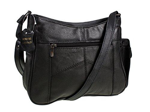 Medium Sized Soft Nappa Black Leather Bag Handbag with long strap - Can be...