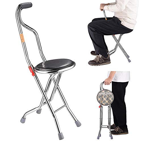 AW Medical Folding Walking Stick with Seat Four Legged Portable Travel Hiking Cane Chair Stool Eldely Care Aid