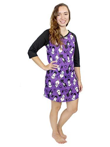 Disney Villains Women's 3/4 Sleeve Dorm Nightgown Pajamas (Small, Black/Purple)