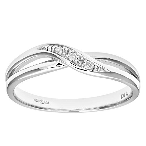 Naava Women's 9 ct White Gold Round Brilliant Cut Diamond Crossover Ring, Size J