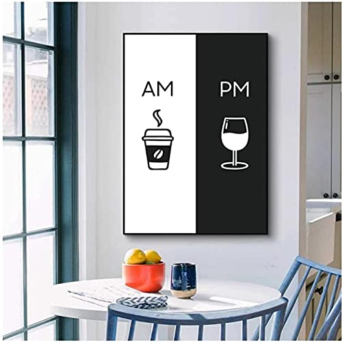 Estilo nórdico Pintura de estilo nórdico AM café PM logo de vino póster arte de la pared impresión de imagen moderna cocina comedor decoración 30x50 cm sin marco