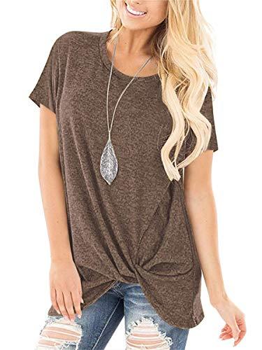 SAMPEEL Juniors Short Sleeve T Shirts Summer Tunic Tops Blouses Twist Knot Coffee L