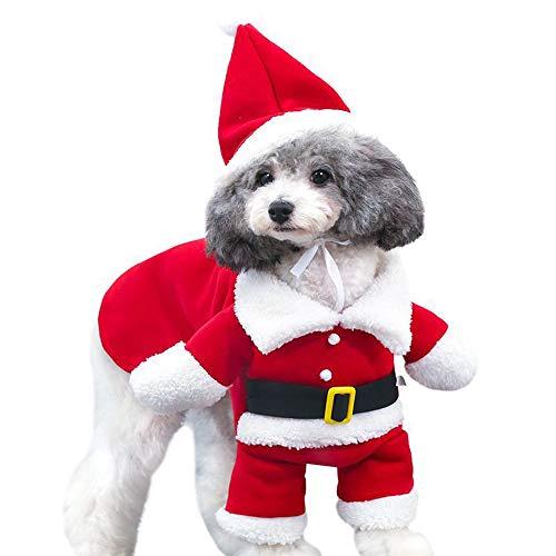 fpengfashion - Disfraz de Pap Noel para mascotas con sombrero, para perros, para fiestas, cosplay, ropa de invierno