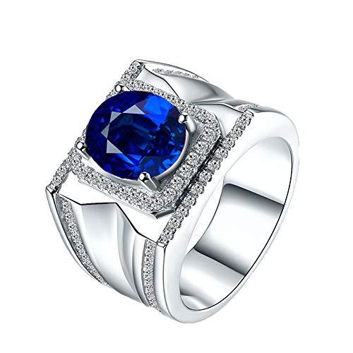 YCGEMS Juego de Anillos de Diamantes y zafiros Azules ovalados clásicos para Hombre de 12 mm en Oro Blanco de 18 Quilates, Anillo de Compromiso para Boda,M