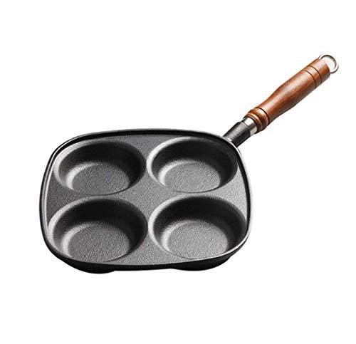 YEESEU 24.5cm 4 Agujeros de Hierro Fundido sartén Huevo, Tortilla Antiadherente de...