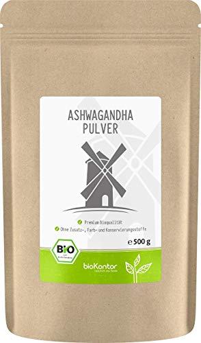 Ashwagandha Pulver Bio 500g | 100% echte Ashwagandha Wurzel aus Indien | bioKontor | indischer Ginseng
