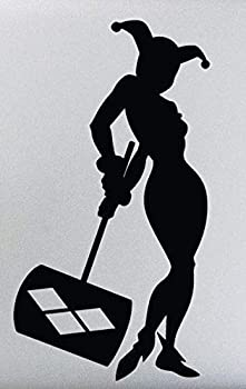 Fan Inspired Art Work 5.5  Harley Quinn Holding Hammer Silhouette Stickers Symbols Decorative Die Cut Decal for Cars Tablets Laptops Skateboards - Black Color