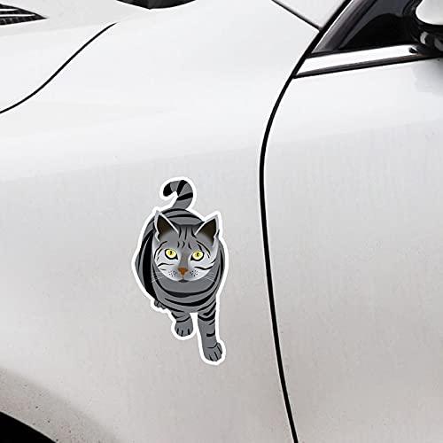 YLZH 7.3cmx14.5cm interesante animal gato PVC etiqueta de coche decoración decoración