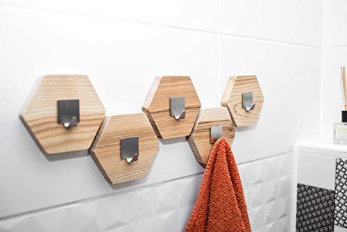 Ganchos de madera para toallas ganchos de pared de madera toallero de baño perchas de baño modernas percha de pared para colgar abrigos almacenamiento de baño montaje en pared panal de abeja