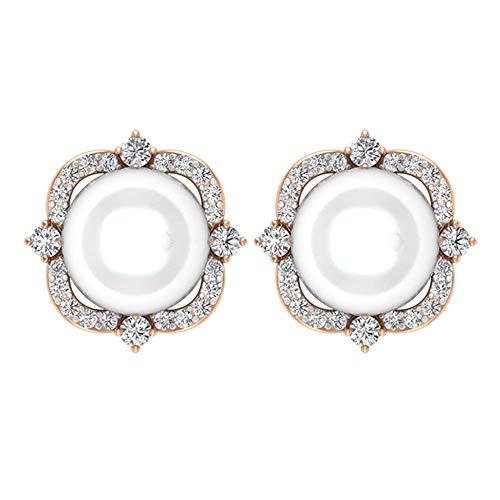 Pendientes vintage con halo de diamante certificado de perlas de 6,28, oro antiguo de 14 quilates grabado, pendientes de boda, para mujer, cómodos pendientes de tuerca, tornillo hacia atrás