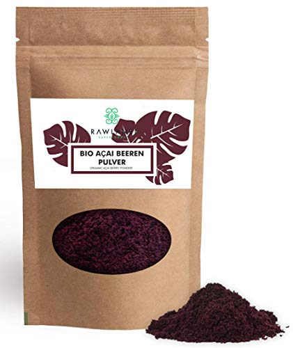 Acai Beeren Pulver Bio 150g | Premium, da Zucker < 0,1g | Gefriergetrocknetes Acai Fruchtpulver | Ohne Zusätze | Superfood von Rawlane