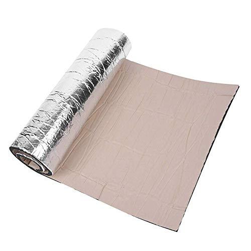 BonTime - Alfombrilla de amortiguación de sonido, 10 mm, aluminio para coche, aislamiento de ruido y calor, paneles de espuma para motor, techo, ventana