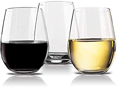 Vivocci Unbreakable Stemless Glasses 100% Tritan Heavy Base | Shatterproof Plastic Glassware | Ideal For Wine, Cocktails, Scotch Perfect For Homes & Bars Barware & Drinkware