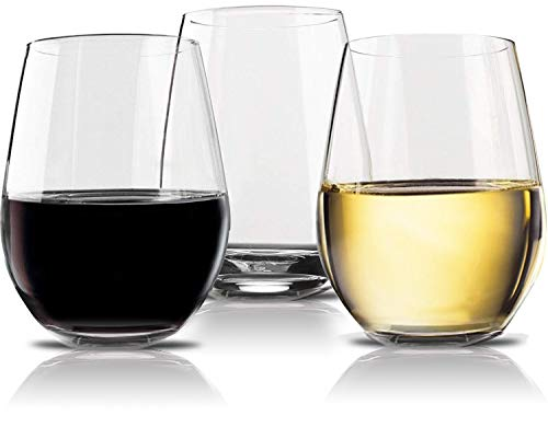 Vivocci Unbreakable Elegant Plastic Stemless Wine Glasses 20 oz | 100% Tritan Heavy Base |...
