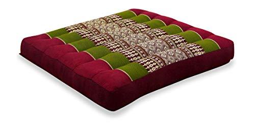 livasia Kapok Sitzkissen 35x35x6,5cm der Marke, optimal als Stuhlauflage oder Meditationskissen, Bodenkissen BZW. Stuhlkissen (rot/grün)