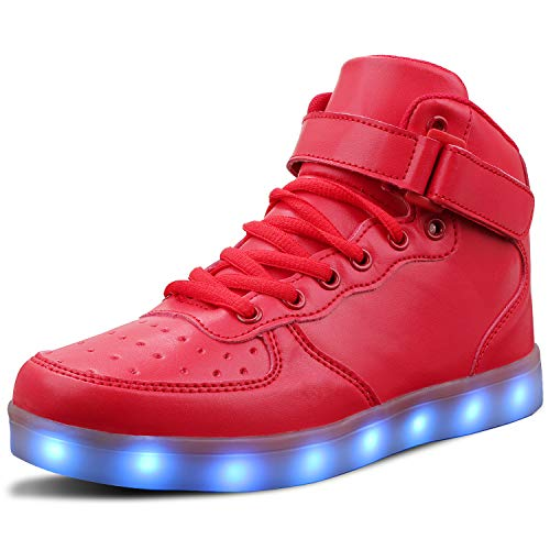 LED Light Up Shoes USB Flashing Sneakers for Toddler/Kids Boots-26(Red)