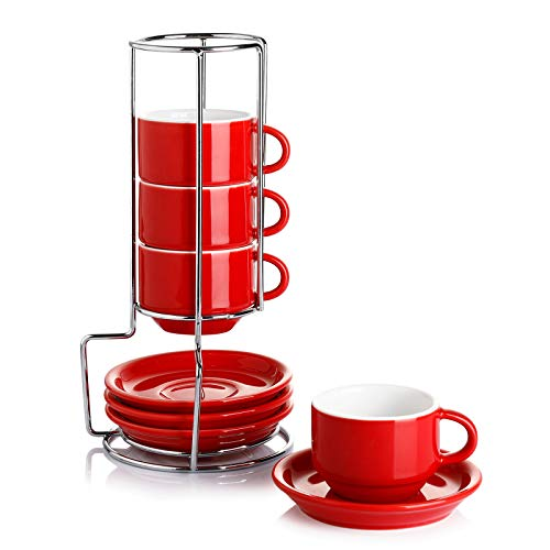 Sweese 405.104 Porcelain Stackable Espresso Cups with Saucers and Metal Stand - 4 Ounce - Set of 4, Red