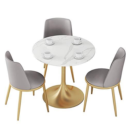 MEI XU Mesa y Juego de sillas, Mesa Redonda Familia mármol Simple de Estilo Europeo, Garden Business Mesa Ocio y Presidente de combinación, 3 Combinaciones Disponible @