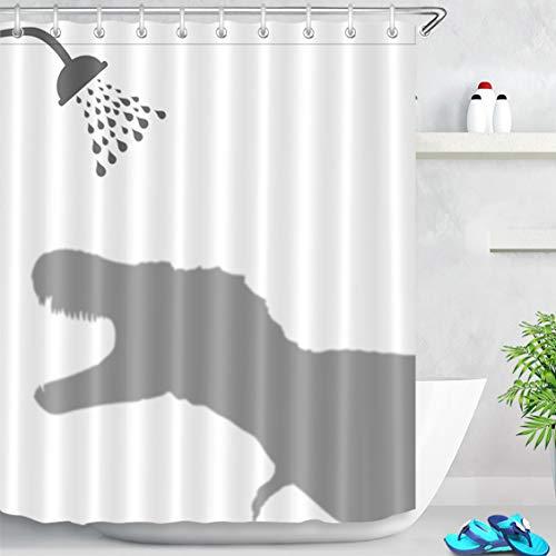 LB 150x180cm Duschvorhang Grau Dinosaurier Schatten Wasserdicht Anti Schimmel Weiß Polyester Badezimmer Vorhänge mit 10 Haken,Lustige Tier für Kinder