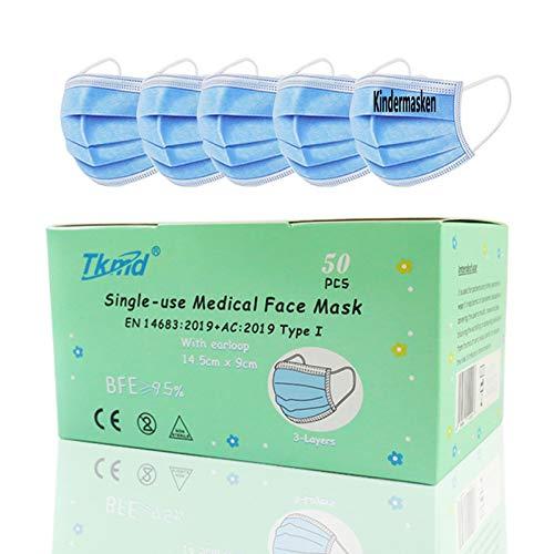 50X Small Medical Face Mask Kleine Kopfform EN14683 Type I 3-lagig Medizinische Einweg Schutzmasken BFE 95% Konformität nach EN 14683 Geprüft durch TÜV SÜD