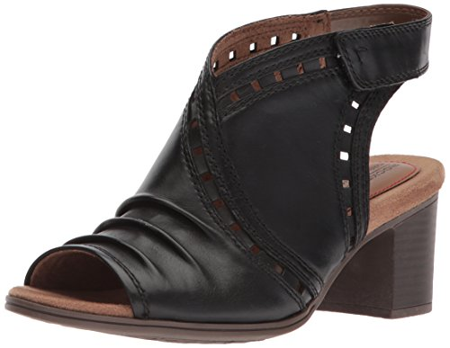 Rockport Women's Cobb Hill Hattie Envelope Heeled Sandal, Black Leather, 8 M US