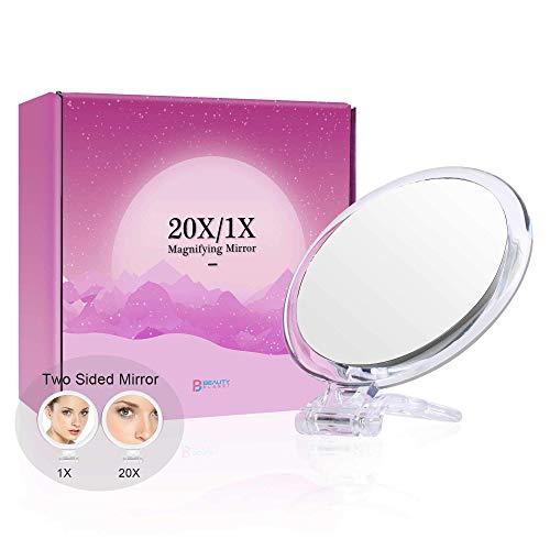 Espejo de aumento de 5 pulgadas, espejo de dos caras, aumento de 20X/1X, plegable con soporte de mano, uso para aplicación de maquillaje, pinzas y eliminación de puntos negros y manchas ZHNGHENG