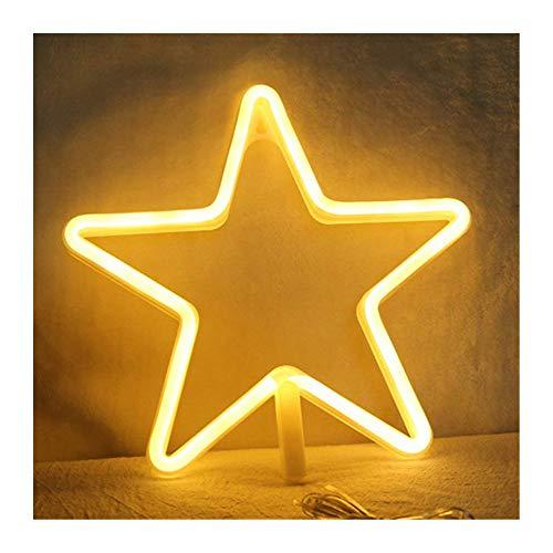 DUBENS Veilleuse LED Fluo, Décoration créative pour intérieur et extérieur, fonctionne sur batterie / USB, pour chambre, Noël, mariage, décoration d'intérieur Étoiles