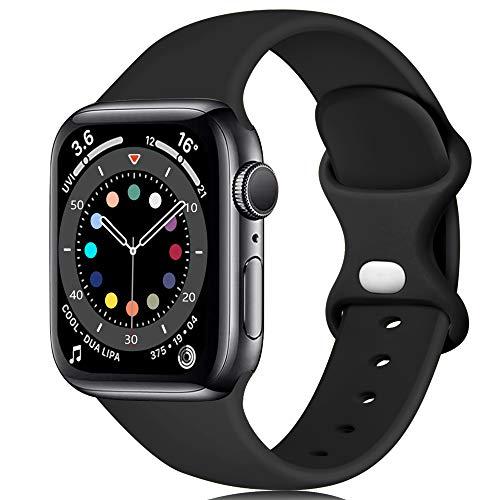 Epova Compatible con Correa Apple Watch 40mm 38mm, Mujer Hombre Silicona Pulsera para iWatch Series 6 SE 5 4 3 2 18, Negro, increíble