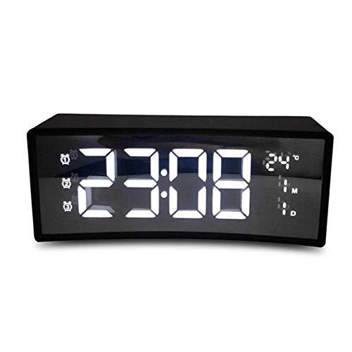TEHWDE Elektronische Klok Digitale Led Klok Wit 3D Alarm Klok Led Display Snooze Functie Gebogen Oppervlak Scherm Drijvend Smart Alarm voor Kinderen Peuters Jongens Meisjes